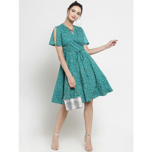Sera tie front floral a line dress
