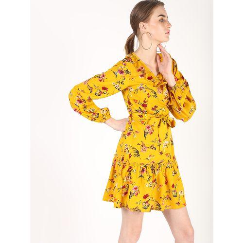 Atraenta tie front floral a-line dress