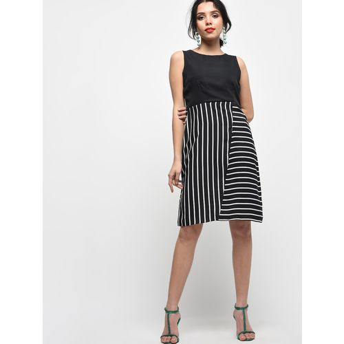 PoshBery sleeveless striped a-line dress
