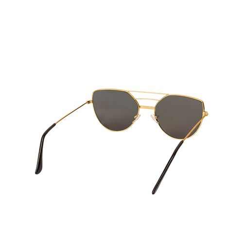arzonai classy mirrored square shape golden-pink uv protection sunglasses for women [ma-033-s4 ]