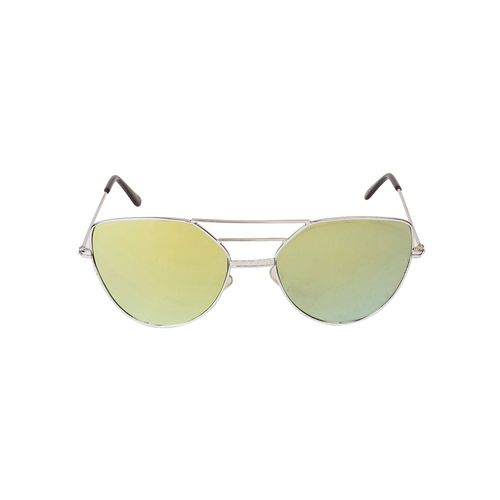 arzonai classy mirrored square shape silver-yellow uv protection sunglasses for women [ma-033-s1 ]