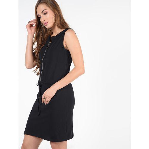 SOHO drawstring zipper detail bodycon dress