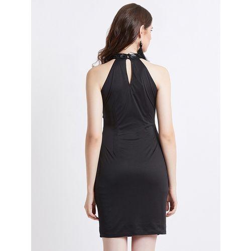 Spangles halter neck embellished bodycon dress