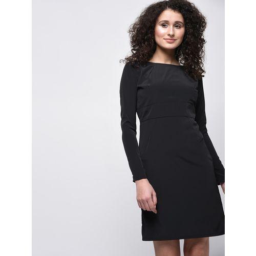 VERONIQUE round neck solid sheath dress