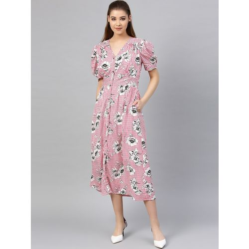 PoshBery puff sleeved floral a-line dress