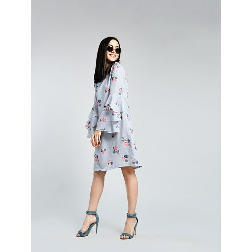 A K Fashion layered bell sleeved floral shift dress