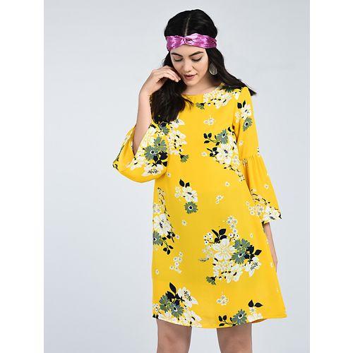 A K Fashion bell sleeved floral shift dress