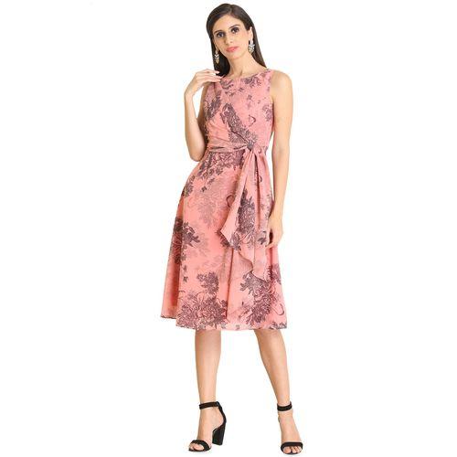 Raas drape detail round neck a-line dress