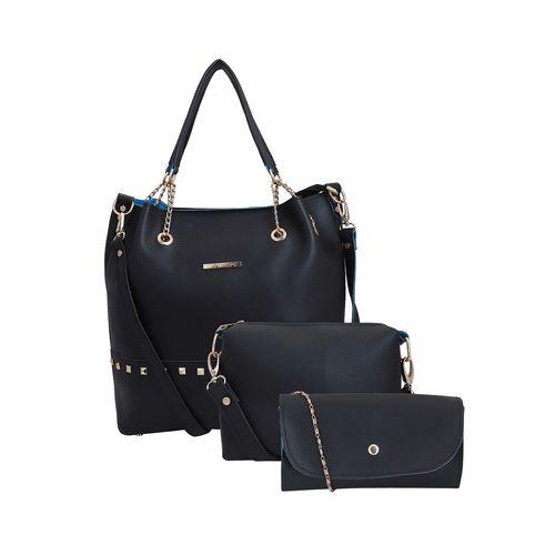 Lapis O Lupo black leatherette (pu) combo tote