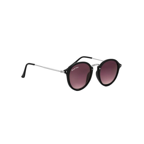 royal son uv protected round sunglasses for women (rs0015rd|47|black lens)