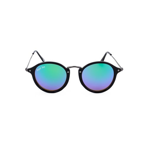 royal son uv protected round sunglasses for women (rs007rd|47|blue mirrored lens)