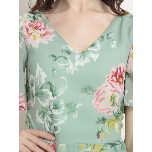 RARE Women Green Printed Fit and Flare Dress