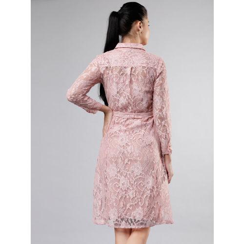 Tokyo Talkies Women Pink Lace Shirt Dress