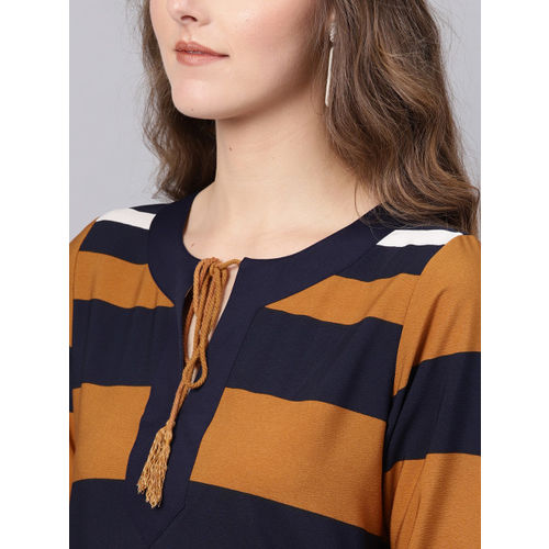 SASSAFRAS Women Rust Brown & Navy Blue Striped Shift Dress