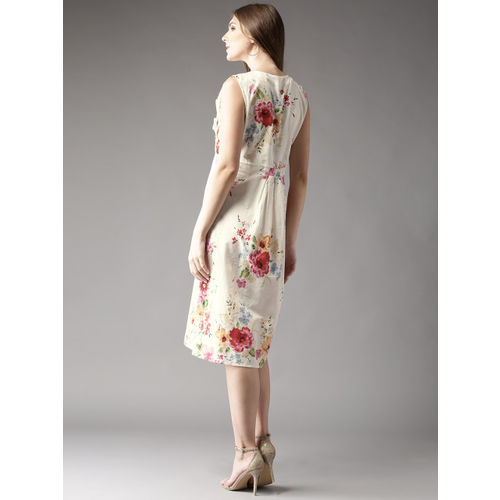 HERE&NOW Women White & Pink Lightweight Floral Print Fit & Flare Dress