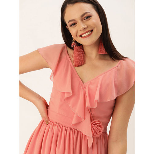 DressBerry Women Coral Pink Solid Fit and Flare Butta Bomma Limited Edition Dress