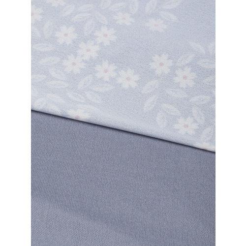SASSAFRAS Women Blue & Off-White Floral Print Empire Dress