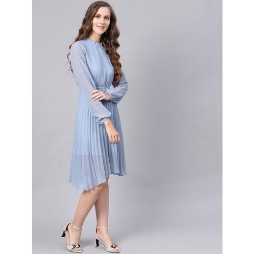 SASSAFRAS Women Blue Solid Accordian Pleat Fit & Flare Dress