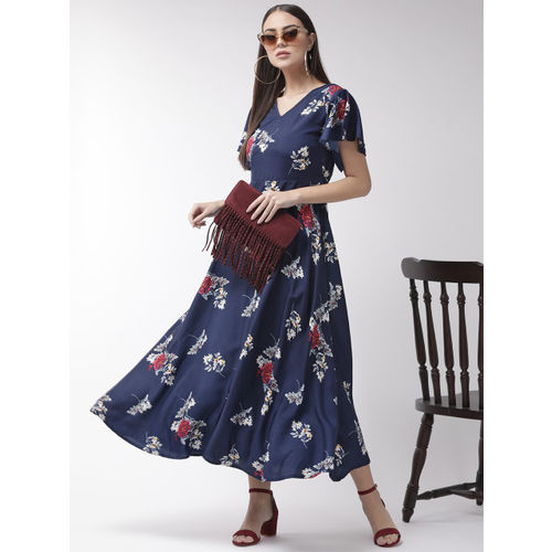 U&F Women Navy Blue & White Printed Maxi Dress