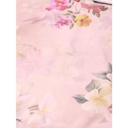 SASSAFRAS Women Peach-Coloured & Pink Printed A-Line Dress
