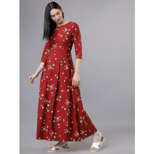Tokyo Talkies Women Rust Floral Print Maxi Dress