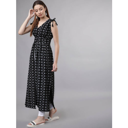Tokyo Talkies Women Black Printed Fit and Flare Dress