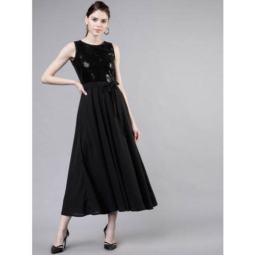 Tokyo Talkies Women Black Embellished Fit and Flare Dress