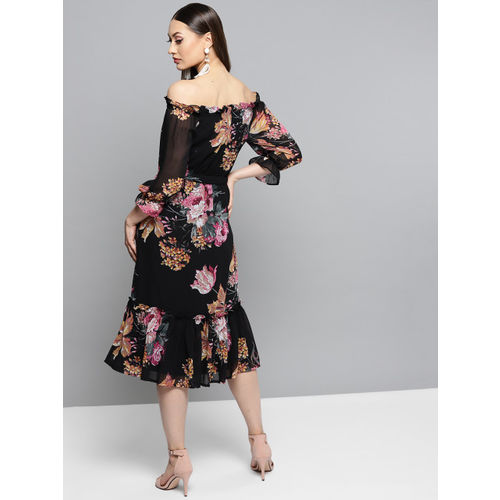 RARE Women Black & Pink Printed A-Line Dress
