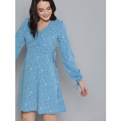 Mast & Harbour Women Blue Printed Wrap Dress