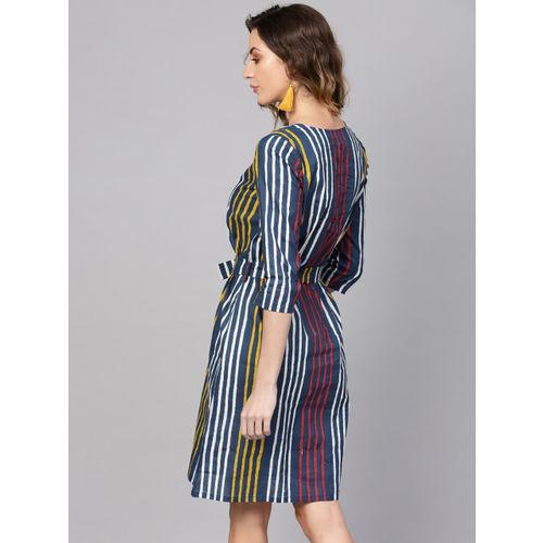 AKS Women Blue & Yellow Striped A-Line Dress