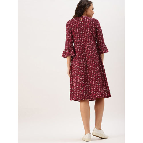 DressBerry Women Maroon Printed A-Line Floral Dress