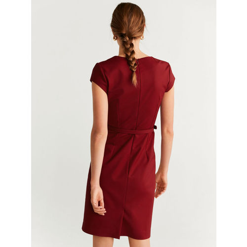 MANGO Women Maroon Solid Sheath Dress