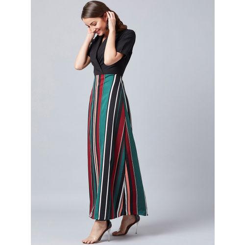 Athena Women Striped Black Wrap Maxi Dress