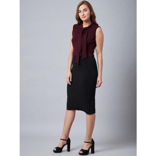 Athena Women Burgundy & Black Sheath Dress