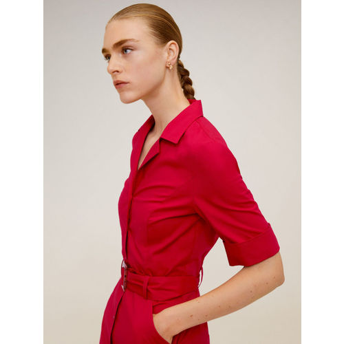 MANGO Women Red Solid Trench Dress
