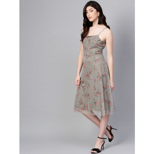 SASSAFRAS Women Olive Green & Pink Net Printed A-Line Dress