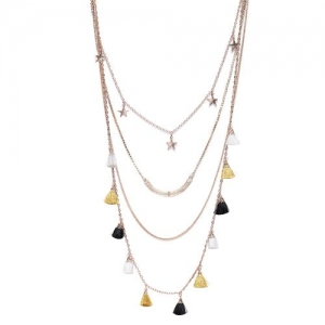 Blueberry gold metal long necklace