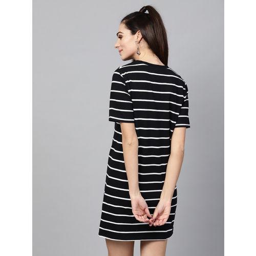 SASSAFRAS Women Black & White Striped T-shirt Dress
