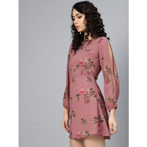 SASSAFRAS Women Mauve & Green Floral Print Empire Dress