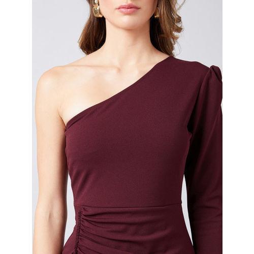 Athena Women Burgundy Solid Wrap Dress