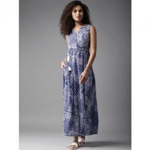 Moda Rapido Women Blue & White Printed Maxi Dress