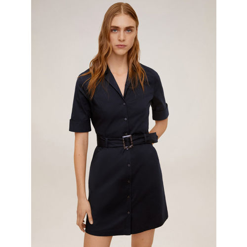 MANGO Women Navy Blue Solid Trench Dress
