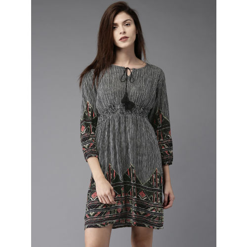HERE&NOW Women Black Striped A-Line Dress