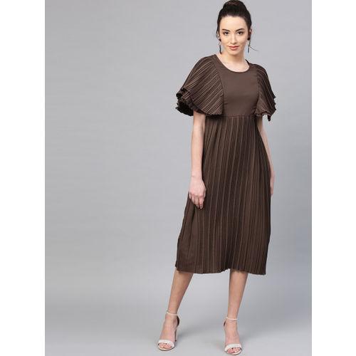 Athena Women Brown Solid Accordion Pleat A-Line Dress