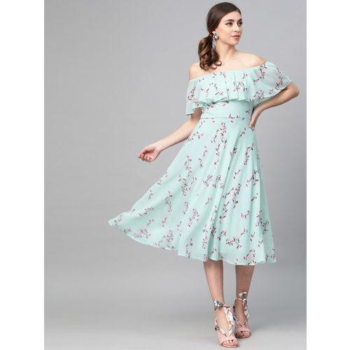 SASSAFRAS Women Blue & Brown Printed Off-Shoulder A-Line Dress