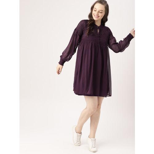 DressBerry Women Purple Solid A-Line Dress