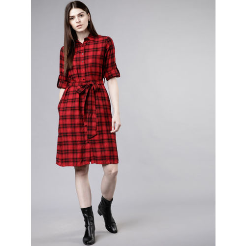 Tokyo Talkies Women Red & Black Checked Shirt Dress