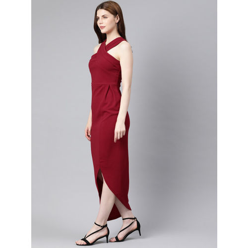 SASSAFRAS Women Maroon Self Design Bodycon Dress