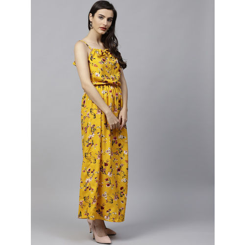 aasi Women Mustard Yellow Printed Maxi Dress