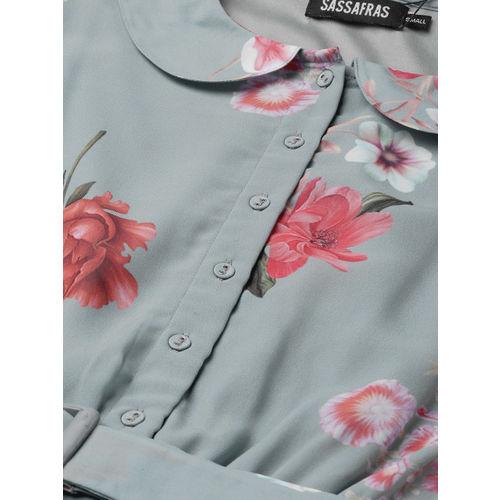 SASSAFRAS Women Grey & Peach-Coloured Printed Accordian Pleat Fit & Flare Dress
